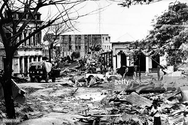 Picture taken on July 24, 1971 of the destroyed streets of Madhabpur during the Indo-Pakistani War of 1971. At centre is a wrecked a UNICEF jeep....