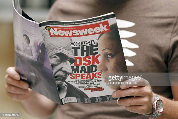A picture taken on July 25 2011 in Paris shows the front page of US daily weekly magazine 'Newsweek' announcing the interview of the Guinean maid...
