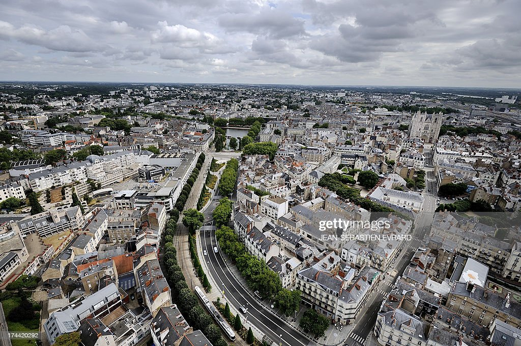 A picture taken on July 25, 2013 shows the French western city of Nantes during the contemporary art festival 'A journey to Nantes' (Le Voyage à Nantes). The festival, which runs from June 28 to September 1, is an itinerary through the city linking cultural sites displaying exhibitions.