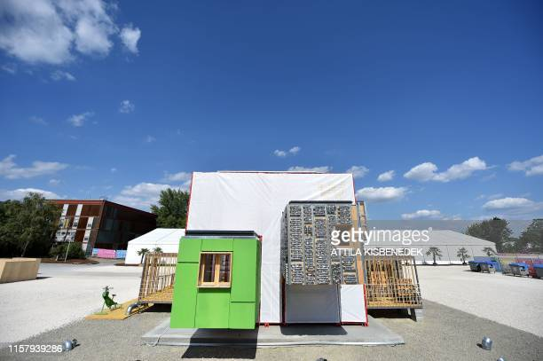 A picture taken on July 25 2019 shows a house of the Spanish 'Universidad de Sevilla' during the Solar Decathlon Europe 2019 a competition during...