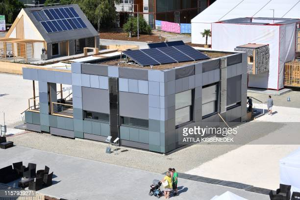 A picture taken on July 25 2019 shows the house of the 'Delft University of Technology Netherlands' during the Solar Decathlon Europe 2019 a...