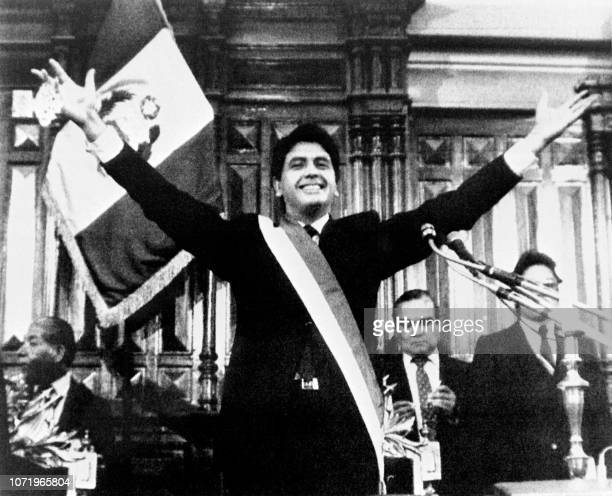 Picture taken on July 26 1985 at Lima showing the Peruvian President Alan Garcia during his inauguration The socialdemocrat Alan Garcia called for a...