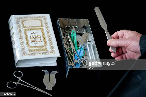 Picture taken on July 26 2012 shows a Rabbi presenting his surgical instruments for circumcision at the Jewish Community in Hof southern Germany In a...