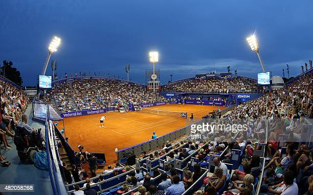 A picture taken on July 26 2015 shows the Umag stadium during the final match of ATP Croatia Open tennis tournament between Austrian player Dominic...