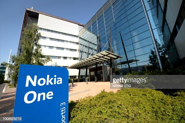 A picture taken on July 26 2018 shows a view of the headquarters of Finnish telecoms giant Nokia in Espoo Finland Nokia released secondquarter and...