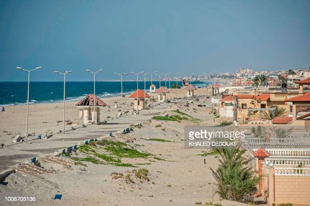 Picture taken on July 26 during an army-organised tour, shows a general view of the beach of el-Arish city in the northern Sinai Peninsula. - With...