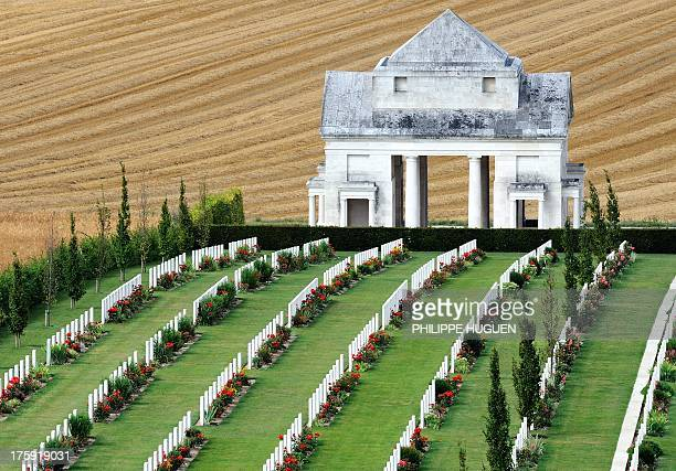 A picture taken on July 282013 at VillersBretonneux military memorial shows graves of Australian soldiers fallen during the World War I in Villers...