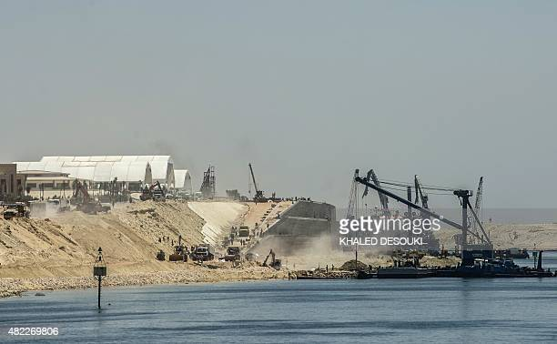 A picture taken on July 29 2015 shows a general view of the new Suez Canal in the Egyptian port city of Ismailia east of Cairo Egypt began the first...