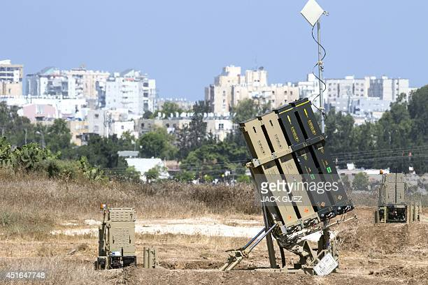 "Picture taken on July 3, 2014 in the southern Israeli city of Ashdod shows an ""Iron Dome"" battery, a short-range missile defence system designed to..."