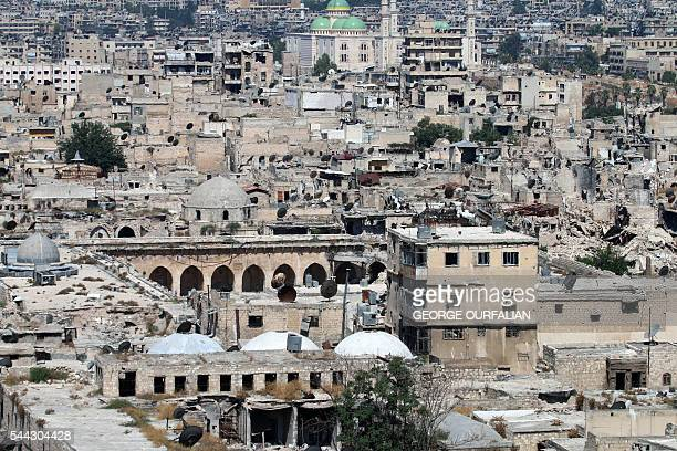 A picture taken on July 3 2016 from the UNESCOlisted citadel in the governmentcontrolled side of the divided northern Syrian city of Aleppo shows...