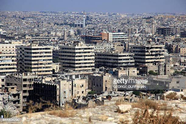 A picture taken on July 3 2016 from the UNESCOlisted citadel shows damaged buildings at the foot of the medieval fortress in the governmentcontrolled...
