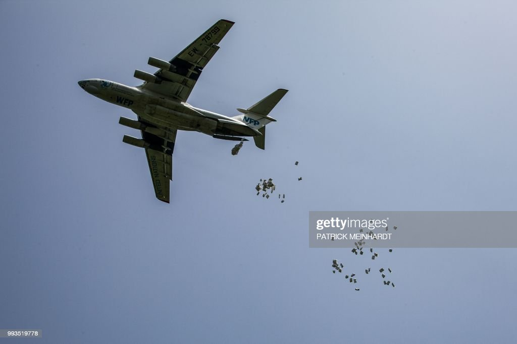 A picture taken on July 3 shows a World Food Programme plane