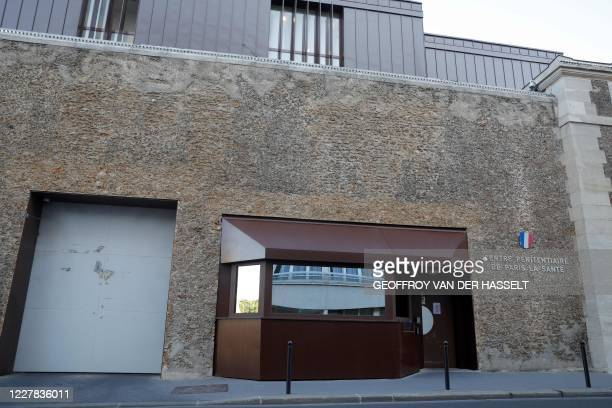 Picture taken on July 30, 2020 shows a view of La Sante prison in Paris upon the conditional release of former head of ETA Jose Antonio Urrutikoetxea...