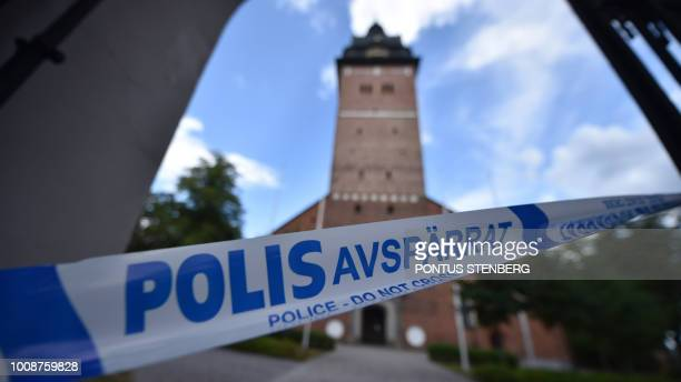 A picture taken on July 31 2018 shows a cordoned zone as Swedish police investigates after Swedens royal jewels dated from the 17th century have been...