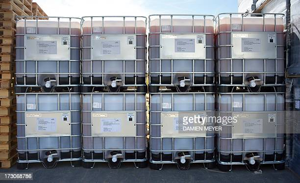 Picture taken on July 5 2013 in SaintMalo shows containers stored at the plant of Goemar a society specialised in sustainable technologies for...
