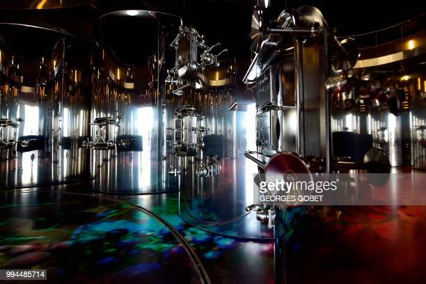 Picture taken on July 5, 2018 in Saint Emilion near Bordeaux shows an inside view of a new cuvier designed by French architect Jean Nouvel at the...