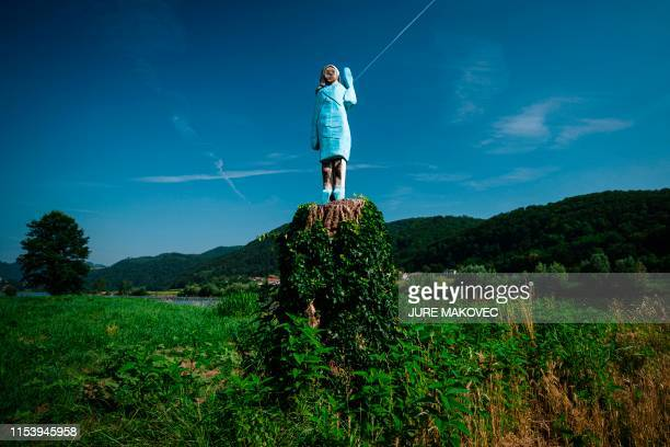 A picture taken on July 5 2019 shows what conceptual artist Ales 'Maxi' Zupevc claims is the first ever monument of Melania Trump set in the fields...