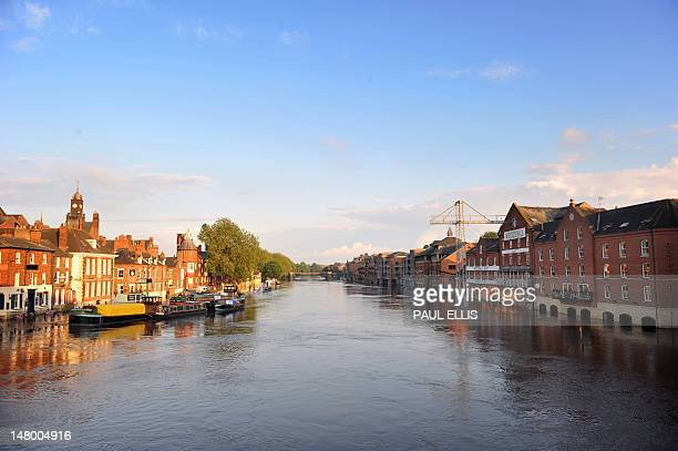 A picture taken on July 7 2012 shows the river Ouse which rose above its normal level in York northern England as flood warnings were issued across...