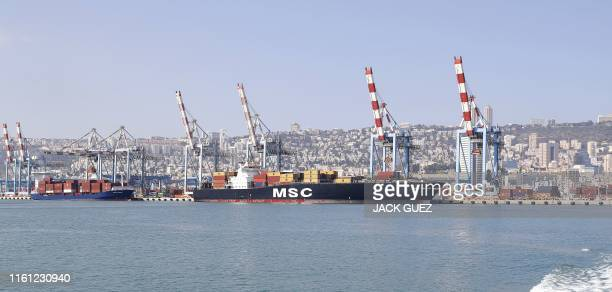 Picture taken on July 7, 2019 shows a partial view of the port of Haifa in northern Israel.