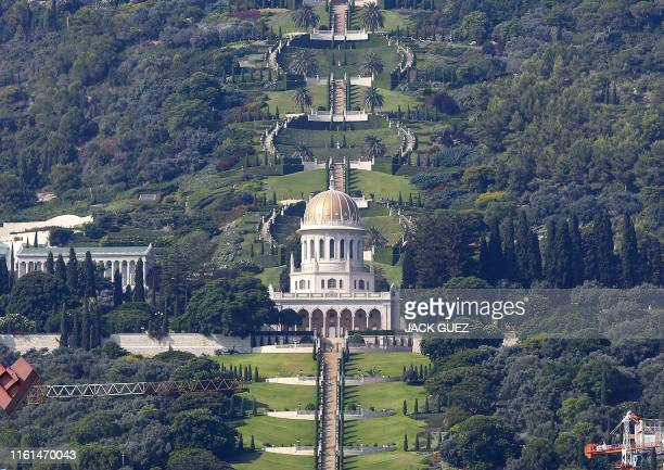 Picture taken on July 7, 2019 shows the terraced gardens and the golden Shrine of Bab in the Israeli port city of Haifa.