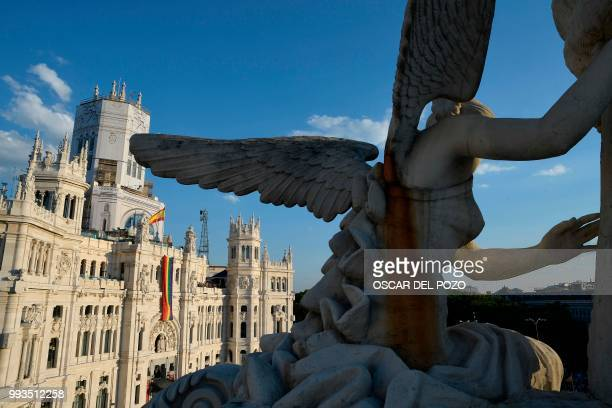 Picture taken on July 7 of the Cibeles Palace Madrid's City Hall during the Gay Pride 2018 parade in Madrid one of the world's biggest