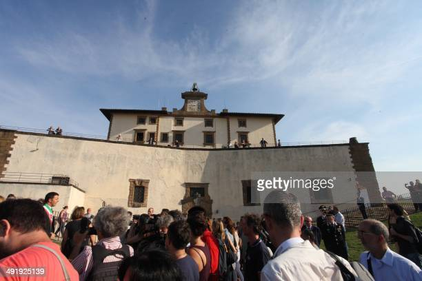 A picture taken on July 8 2013 in Florence shows people visiting the Forte Belvedere where the Hip hop star Kanye West and reality TV celebrity Kim...