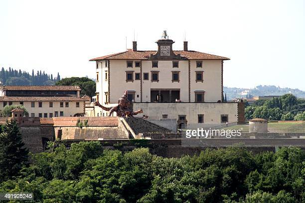 A picture taken on July 9 2013 in Florence shows people visiting the Forte Belvedere where the Hip hop star Kanye West and reality TV celebrity Kim...