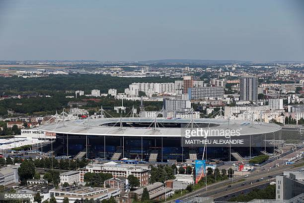 A picture taken on July 9 2016 shows a general view of the Stade de France in SaintDenis on the outskirts of Paris a day ahead of the Euro 2016 final...