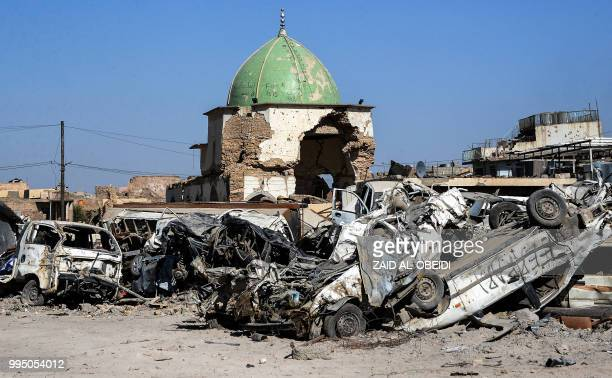 Picture taken on July 9, 2018 shows a view of the dome of the destroyed Al-Nuri Mosque in the Old City of Mosul, a year after the city was retaken by...