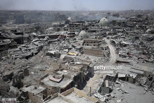 A picture taken on July 9 shows a general view of the destruction in Mosul's Old City Iraq will announce imminently a final victory in the nearly...