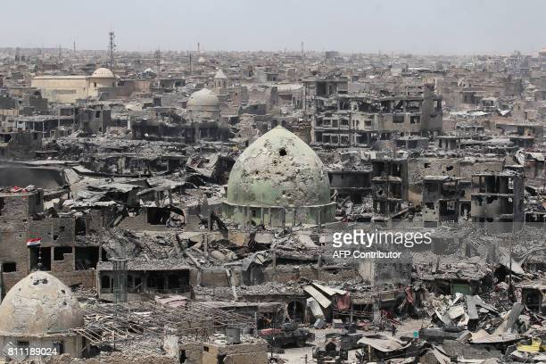 TOPSHOT A picture taken on July 9 shows a general view of the destruction in Mosul's Old City Iraq will announce imminently a final victory in the...