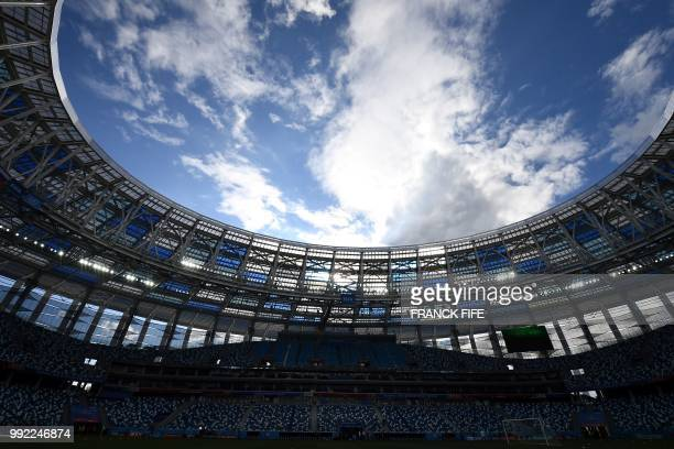 A picture taken on July5 2018 shows the Nizhny Novgorod Arena in Nizhny Novgorod on the eve of the Russia 2018 World Cup quarter final football match...