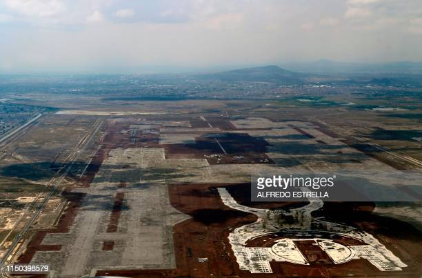 Picture taken on June 05 2018 of the construction site of Mexico City's planned new airport in Texcoco Mexico Mexican citizens and businessmen...