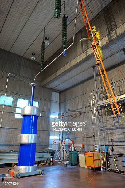 Picture taken on June 1 2010 in Mulhouse shows a dummy at the laboratory room of the new Electrical Work Section expertise centre of RTE acronym for...