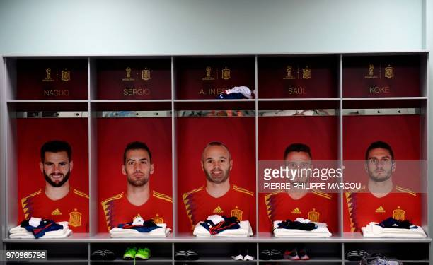 Picture taken on June 10 2018 in Krasnodar shows the dressing room of Krasnodar Academy where is housed Spain's national football team ahead of the...
