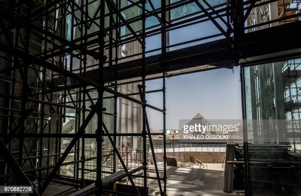 A picture taken on June 10 2018 shows a view of construction work undergoing at the site of the Grand Egyptian Museum in Giza on the southwestern...