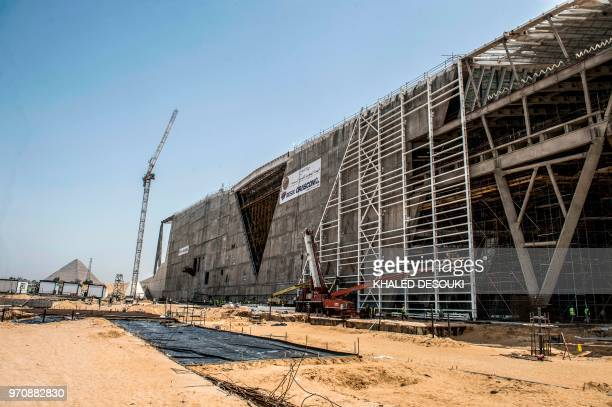 A picture taken on June 10 2018 shows a view of the entrance of the Grand Egyptian Museum under construction in Giza on the southwestern outskirts of...