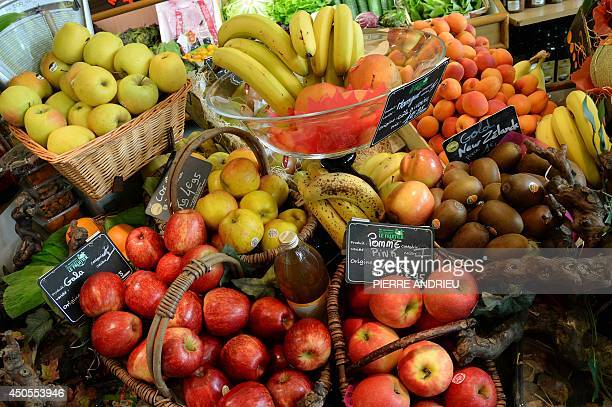 A picture taken on June 13 2014 of a fruit stall in a local business in Paris AFP PHOTO / PIERRE ANDRIEU