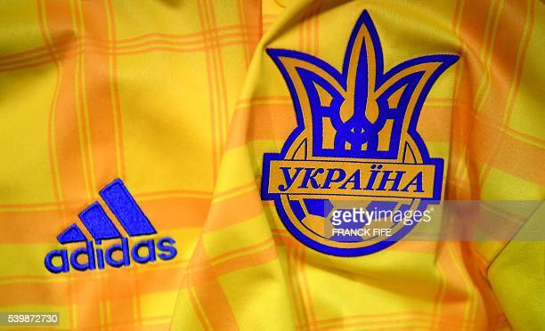 Picture taken on June 13, 2016 in Paris, shows the jersey of the Ukraine national football team for the UEFA Euro 2016 European football...