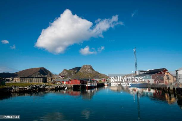 A picture taken on June 13 2018 shows a fishing village on the island of Vaeroy which is a part of Lofoten Islands in northern Norway / Norway OUT