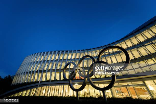 TOPSHOT A picture taken on June 13 2019 in Lausanne shows the new headquarters of the International Olympic Committee that will be inaugurated on...