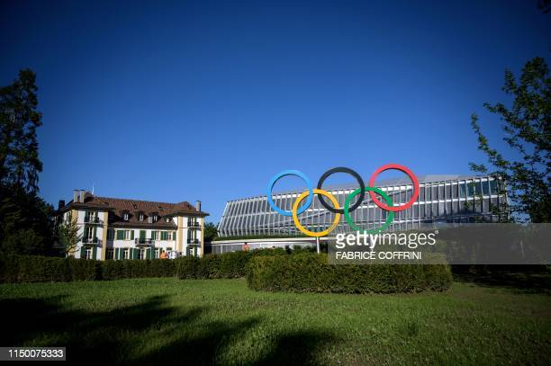Picture taken on June 13, 2019 in Lausanne shows the new headquarters of the International Olympic Committee that will be inaugurated on June 23,...