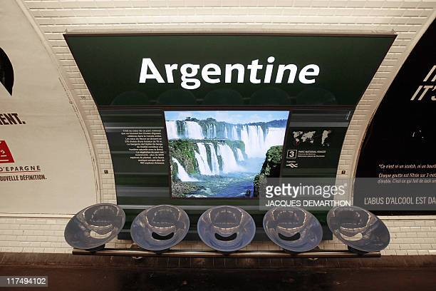 A picture taken on June 15 2011 shows an artwork depicting Argentina's Iguazú falls during the opening ceremony celebrating the new scenography of...