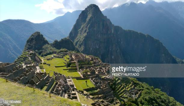 Picture taken on June 15, 2020 showing an empty Machu Picchu, the 15th century Inca citadel located at 2,430 metres in the Andes mountain range, 80...