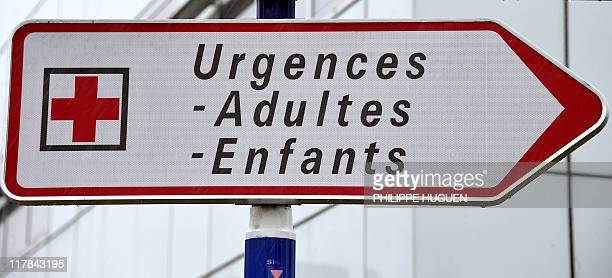 A picture taken on June 16 2011 in the northern French town of Lille shows sign road inside the hospital Jeanne de Flandre where six children were...