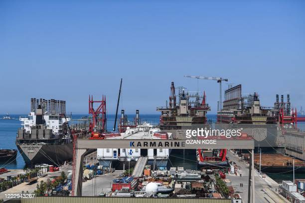 A picture taken on June 16 2020 shows a general view of Karpowership company's shipyard with powerships at altinova district in Yalova Four years ago...
