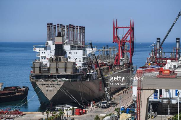 A picture taken on June 16 2020 shows Raif bey powership docked in a shipyard of altinova district in Yalova Four years ago the freight ship was...