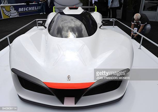 A picture taken on June 17 2016 shows an electric and hydrogen Green GT H2 racing car in Le Mans western France on the eve of the 84th edition of the...