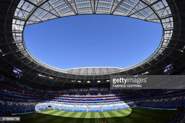 TOPSHOT A picture taken on June 17 shows a general view of the Samara Arena ahead of the Russia 2018 World Cup Group E football match between Costa...