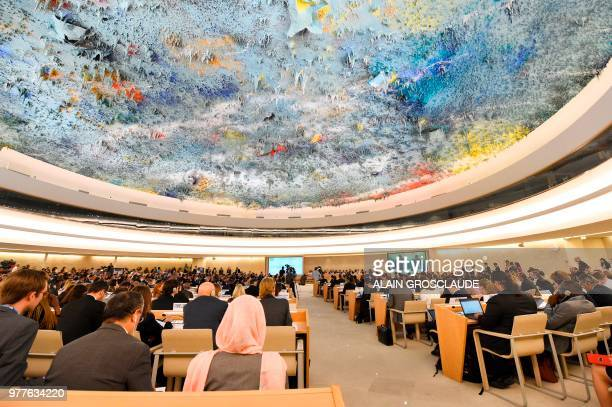 A picture taken on June 18 2018 in Geneva shows a general view during the opening of the 38th session of the United Nations Human Rights Council